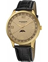 Akribos Champagne Dial Black Leather Mens Watch Ak637Yg