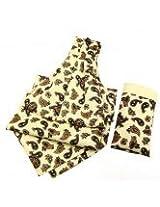 Classic Paisley Cravat In Cream Black With Pocket Square