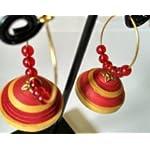 Paper Jwel_Red- Yellow & Red Beats Hoop Designer Jhumka