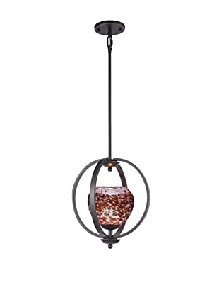 Woodbridge Lighting Geo 1-Light Medium Pendant, Metallic Bronze/Cherry