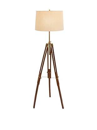 Wood & Metal Tripod Floor Lamp