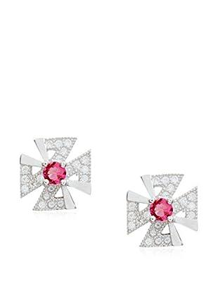 My Silver Pendientes Ideal Rojo Zirconium