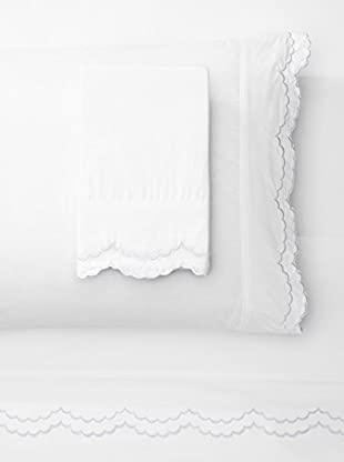 Melange Home 300 Thread Count Egyptian Cotton Percale Double Scalloped Embrodiery Sheet Set