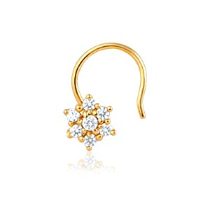 Mahi Gold Plated Daisy Bloom Nose Rings with CZ Stones