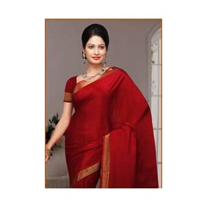 Rust Pure Mysore Silk Saree with Blouse