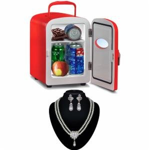VOX Portable Mini Refrigerator For Home & Car + CZ Diamond Silver Plated Pearl Necklace Set