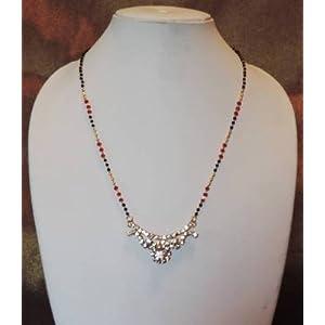 Mirraw Diamante Pendant Mangalsutra - Red & Black