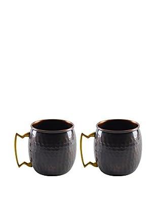 10 Strawberry Street Set of 2 Antique Mugs, Copper