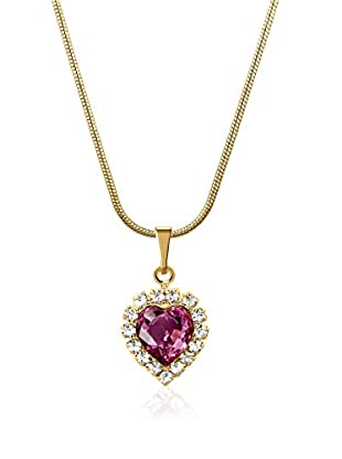 Philippa Collar Strass Heart metal bañado en oro 24 ct