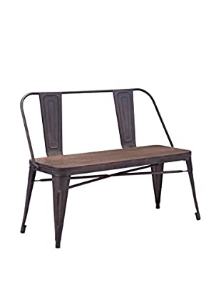 Zuo Modern Elio Industrial Double Bench, Rustic Wood