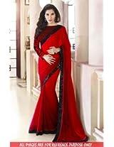 Abhaysri Fashion Bollywood Replica Sophie Choudhry Red Colour Georgette Fabric Party Wedding Wear Saree