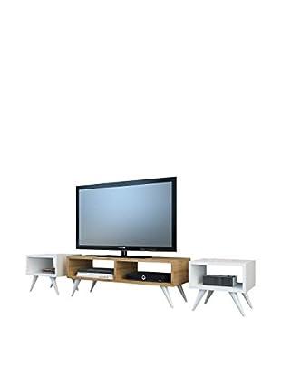 Minar Fernsehmöbel Vinca Tv weiß/natur