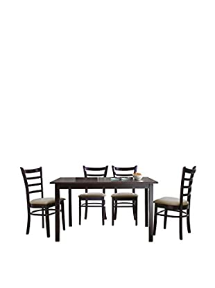 Baxton Studio Keitaro 5-Piece Dining Set, Dark Brown