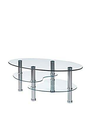 Luxury Home Contemporary Glass & Stainless Oval Coffee Table