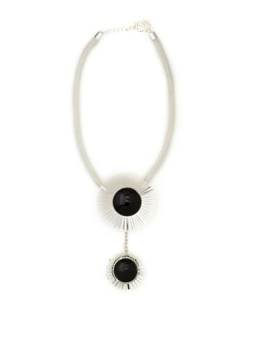 Tuleste Market Double Starburst Necklace, Silver/Black