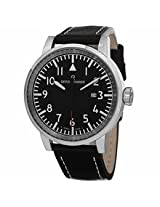 Revue Thommen Air Speed Black Dial Leather Mens Watch 16053.1537