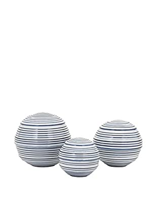 Set of 3 Libby Spheres, Light Blue