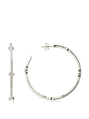 CZ by Kenneth Jay Lane Floral Stations CZ Hoop Earrings