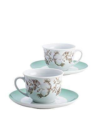 BonJour Fruitful Nectar Set of 2 Nectar Teacups & Saucers