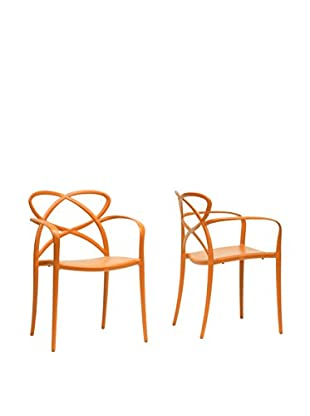 Baxton Studio Set of 2 Huxx Dining Chairs, Orange