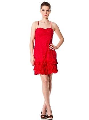 Naf Naf Vestido Calado (Rojo)