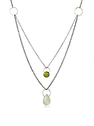 Melissa Joy Manning 14K Gold and Sterling Silver Idocrase and Green Rutilated Quartz Double Drop Necklace