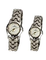 Little India Made for Each Other Elegant Stone Studded Dial Silver Watch Pair - DLI3WPR301M