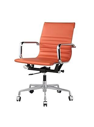Meelano M341 Office Chair in Orange Italian Leather