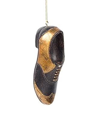 Winward Handcrafted Resin Shoe Ornament, Black/Gold
