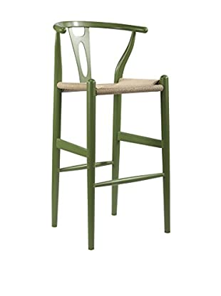 Baxton Studio Mid-Century Modern Wishbone Wood-Y Stool, Green