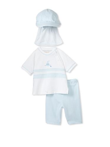Emile et Rose Baby Boy's Boat Shirt, Shorts & Suncap Set (Pale Blue)