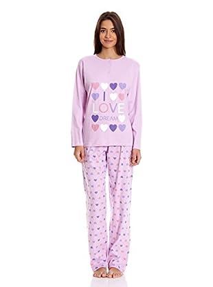 Muslher Pijama Sra ConTapeta Estampado Corazón (Malva)