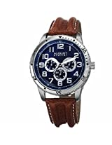 August Steiner Blue Dial Brown Leather Mens Watch As8116Br