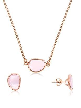 Córdoba Jewels Conjunto de collar y pendientes Lumiere Rosa Plata de ley 925 bañada en oro rosa