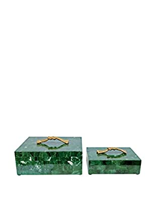 Couture Brentwood Malachite Set of 2 Rectangular Boxes, Brentwood Green/Antique Brass