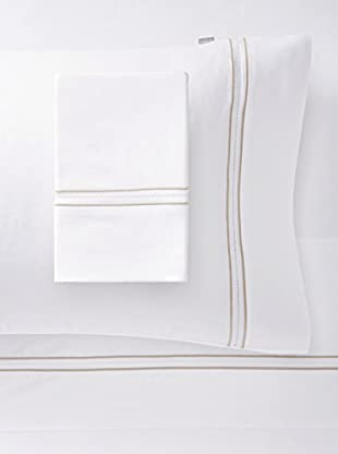 Belle Époque Home Concept Collection Moare Sheet Set (White/Tan)