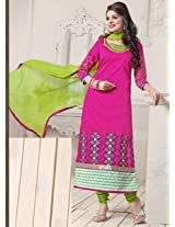 Saara Pink And Green Embroidered Dress Material - 142D3030