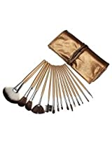 15pcs Cosmetic Makeup Powder Brush Set Foundation Leather Case (brown)