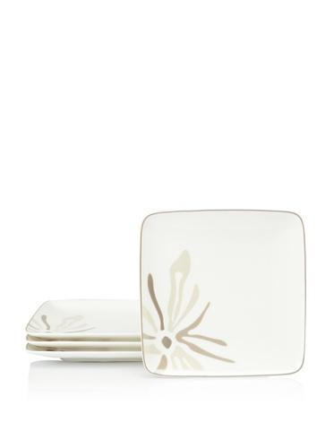 Noritake Everyday Elegance Set of 4 Campania Small Square Plates (White/Taupe)