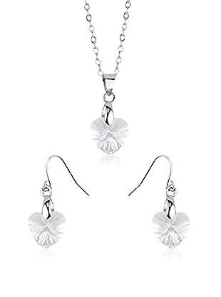 Shiny Cristal Set Halskette und Ohrringe  rhodiniertes Silber 925