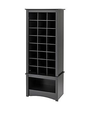 Prepac Tall Shoe Cubbie Cabinet, Black