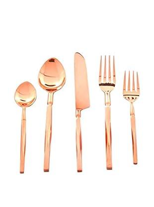 Cunill Beveled Handle 40-Piece Flatware Set, Copper