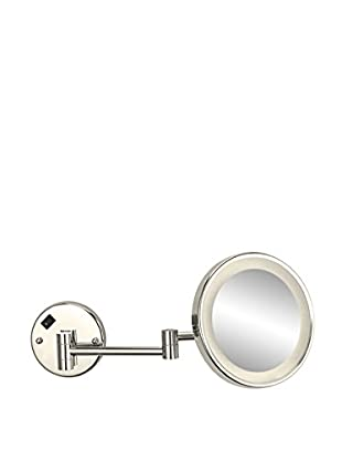 Nameeks Round Wall Mounted 3X Makeup Mirror w/ LED, Satin Nickel Finish