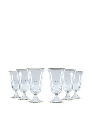 Set of 6 Gold Rim Petite Champagne Glasses, Clear