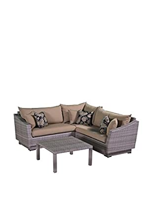 RST Brands Cannes 4-Piece Corner Sectional & Table, Beige
