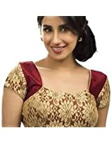 RAMAPIR FASHION Women's Un-Stitched Blouse Maroon Golden Designer Net Blouse Material