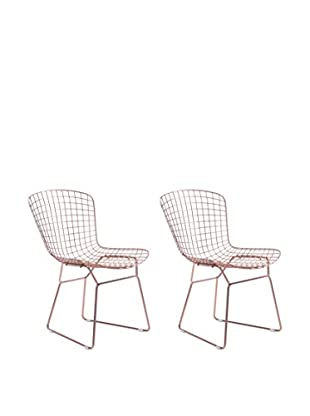 Zuo Set of 2 Wire Chairs, Rose Gold