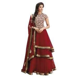Red Top Net with Santoon Botton & Chiffon Dupatta With Embroidery & Hand work Anarkali Salwar Kameez Suit