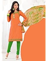 Saara Orange And Green Embroidered Dress Material - 148D6011