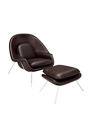 Modway W Leather Lounge Chair (Dark Brown)